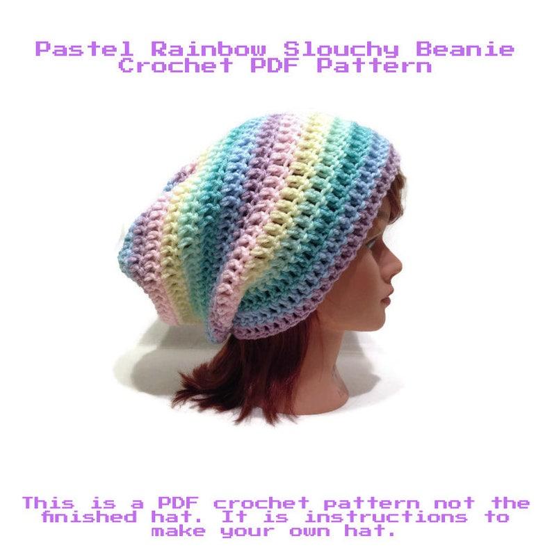 c5bb68ae08e Crochet Pattern Pastel Hat Pattern Slouchy Hat Pattern