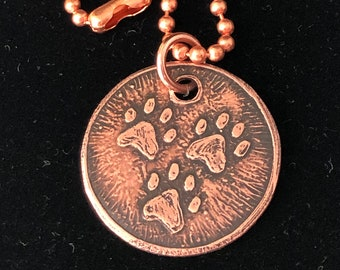 Three Paw Copper Charm with Rustic Finish