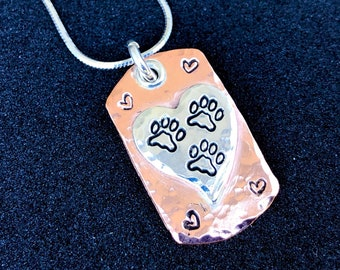Tripawd Love Mini Dog Tag Charm with Sterling Silver Chain