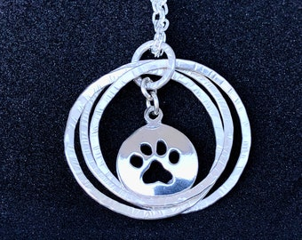 Silver Love Knot Charm with Paw Print Charm and Chain
