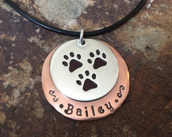 Custom Three Paw Tripawd Pendant in Silver and Copper