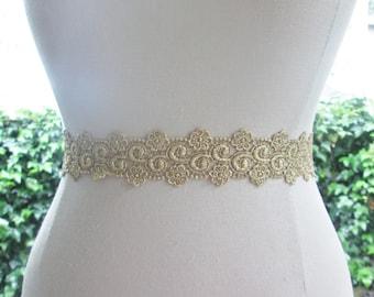 Metallic gold wedding sash,  Bridesmaid sash,  gold bridal belt, gold ribbon sash.