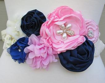 Maternity sash, ribbon bridal belt, navy and pink flower sash, ribbon sash. Bridesmaid, flower girl belt, maternity sash belt