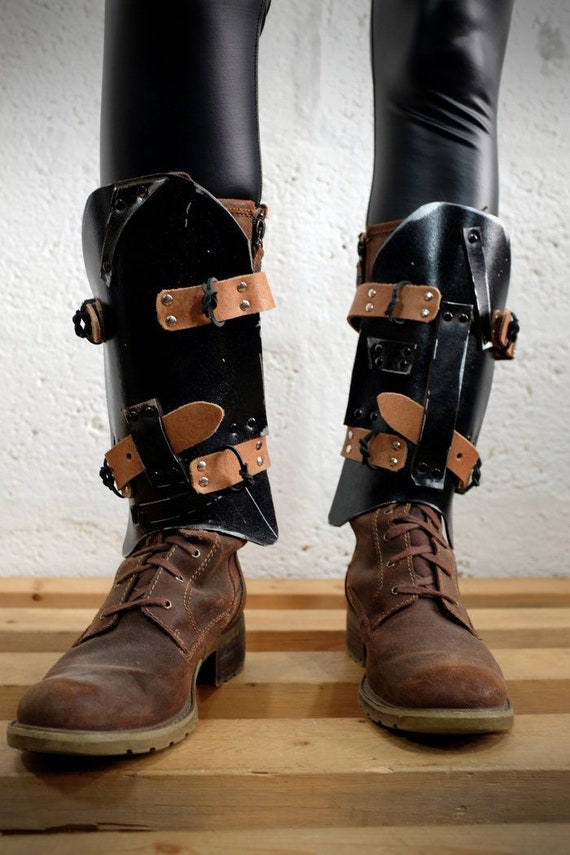 Leather Dystopian Shin Guards For Men And Women Blackbrown Etsy