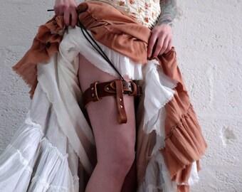 Leather Steampunk Garter Belt Brown