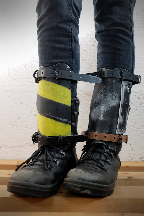 Leather Dystopian Shin Guards For Men And Women Multi Mad Etsy