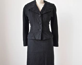 1950's Betty Rose Black Wool Suit Wiggle Skirt Hourglass Jacket Size Small