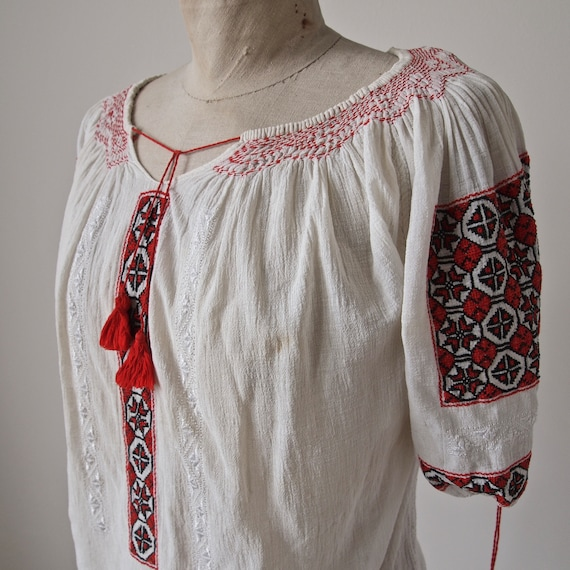 Vintage 30's Top Bohemian Folk Semi-Sheer Gauze 19