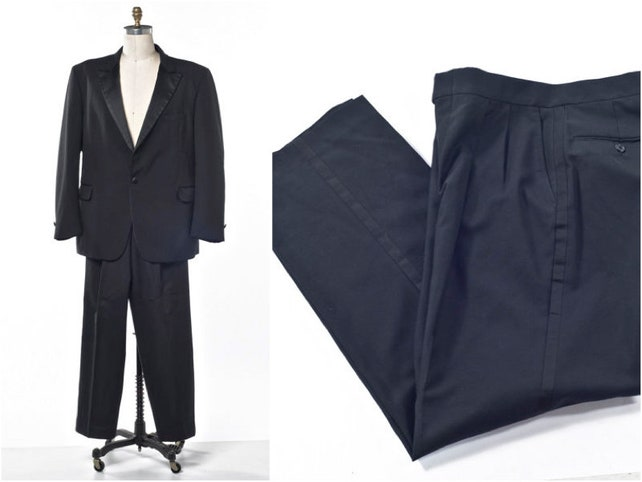 Black Tuxedo Mr. Burch Jacket and Pants with Satin Trim Peak Lapel Size 44