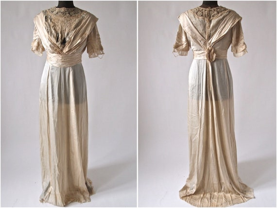 Edwardian 1910's Wedding Gown Dress Ecru Silk, Lac
