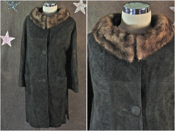 1960's Coat Brown Suede Chocolate Suede and Mink C