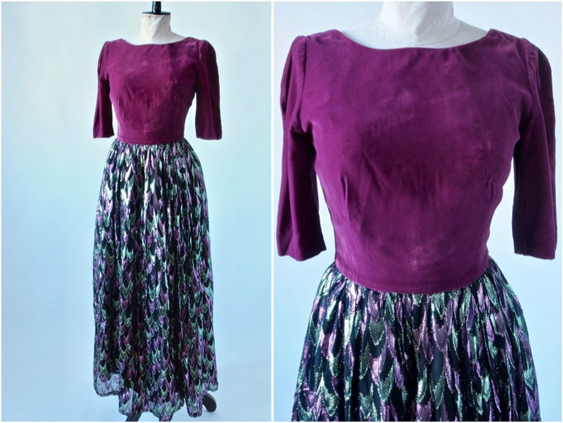 5646b948f 1960 s Maxi Dress Magenta Velvet and Metallic Chiffon