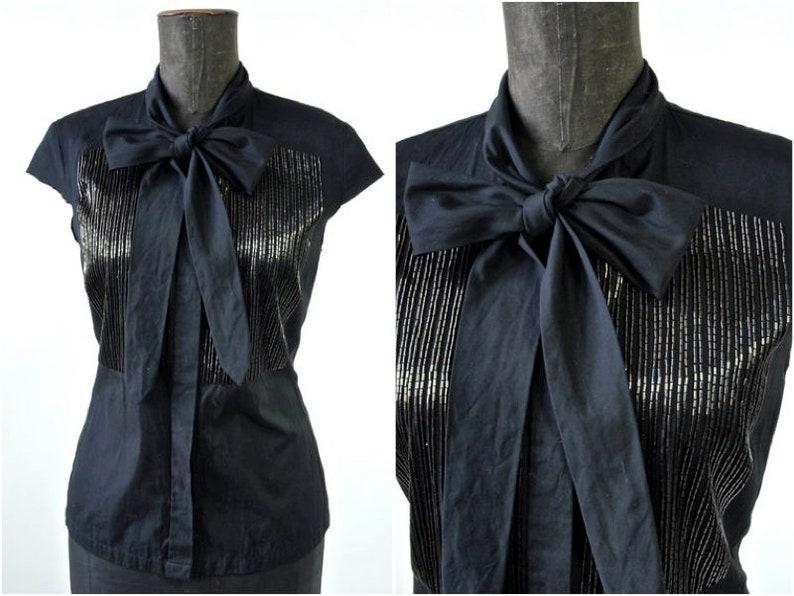 cba0d78793 Dries Van Noten Blouse Vintage Black Designer Blouse with Gold