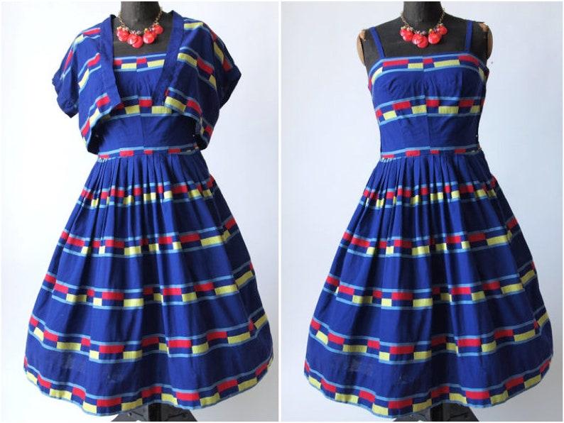 50's Bright Dress Sundress Jacket Rockabilly Stripe Bolero Rosenfeld With Swing Blue Cotton Henry L35q4ARj