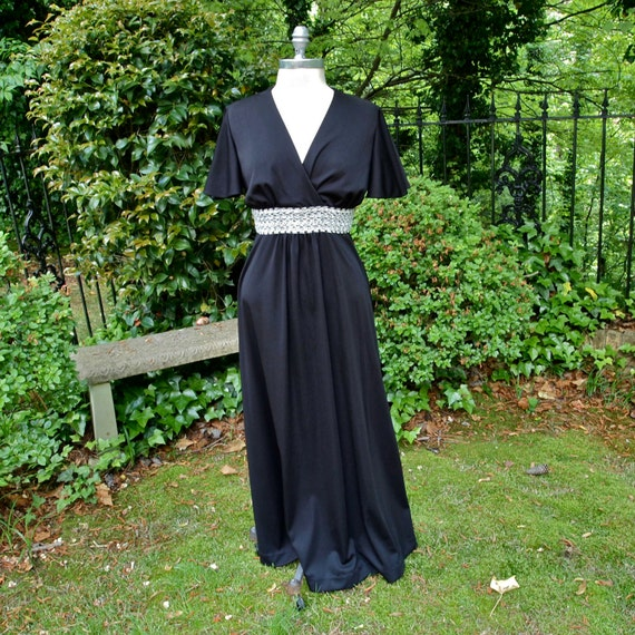 Vintage Maxi Dress Black Polyester and Silver Waist 70 s  724d508b6