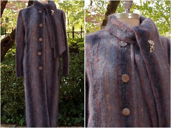 1950's  Coat Long Mohair with Attached Neck Scarf-