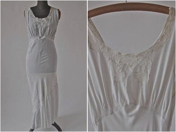 Vintage 30's/40's Nightgown Long White Lace Bias C