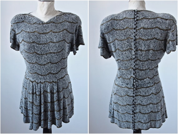 Vintage 30's/40's Top/Tunic/Dress Beaded Scalloped