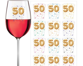 WINE GLASS MARKERS - 50th Birthday - Wine Glass Decals - Wine Clings