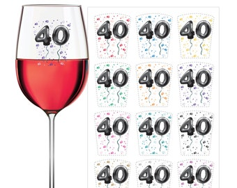 WINE GLASS MARKERS - 40th Birthday - Wine Glass Decals - Wine Clings