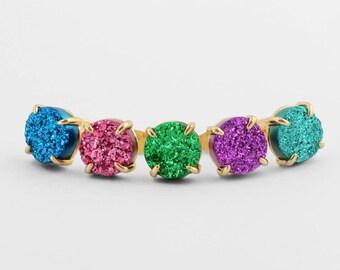 DRUZY STUD EARRINGS - Natural Druzy Earrings - Prong Stud Earrings - Large 10mm - Colorful