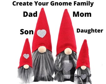GNOME FAMILY - CREATE Your Gnome Family - Mom - Dad - Son - Daughter - Sister - Brother