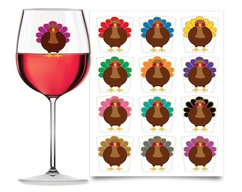 Thanksgiving (Wine Glass Decals) - TURKEY (12 Static Cling, Drink Glass Markers)  - Thanksgiving decorations, decor for glasses