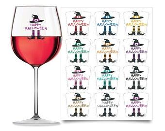 HALLOWEEN WINE GLASS Decals - Drink Markers (Vinyl, Set of 12)