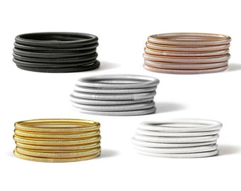 RING STACK SET - Stainless Steel - Stretch Rings - Ring Stack - Guitar String Rings - Spring Rings - Gold - Black - Silver - Rose Gold