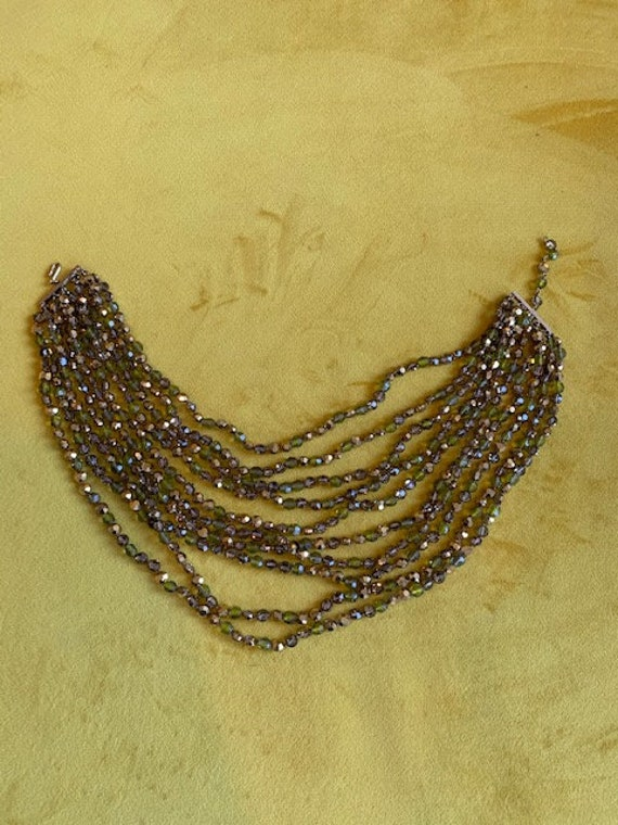 Funky 70s vintage green and gold 10 strand necklac