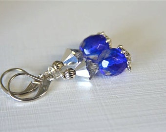 "Cobalt Blue Glass and Silver Crystal Earrings for weddings and friendship earrings Handmade in Maine ""SNOW FAIRY"""