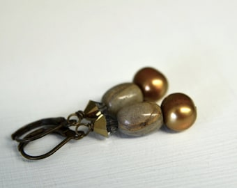 Ocean Jasper and Neutral Brown Pearl Earrings, Gemstone Earrings handmade in Maine