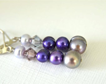 Grey and Purple Pearl Earrings with Lavender and Violet Freshwater Pearls Handmade in Maine