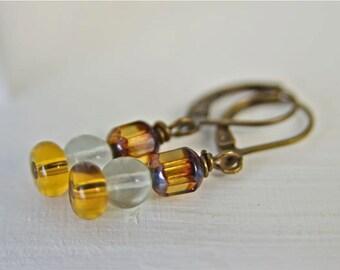 Amber Earrings Glass Earrings Brown Earrings Honey Earrings Dangle Earrings Ready to Ship