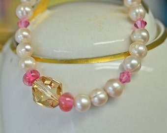 Light Pink and Cotton Candy Pink Bracelet with Large Swarovski Crystal from North Atlantic Art Studio in Maine