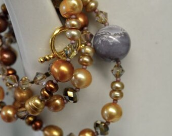 Ocean Jasper and Pearl Necklace and Earring SET with Brown, Tan, Khaki & Bamboo Freshwater Pearls and Gold Tone Toggle Clasp