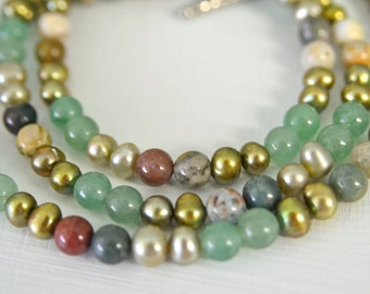 Green Aventurine , Ocean Jasper and Freshwater Pearl Necklace with Matching Bracelet Handmade in Maine from North Atlantic Art Studio