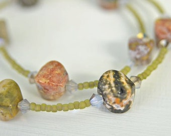 Ocean Jasper Choker Necklace with Grey Crystals and Olive Green Glass Seed Beads Handmade in Maine from North Atlantic Art Studio