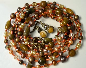 "Tangerine and Brown Pearl Long Necklace and Earring Set with Natural Ocean Jasper  ""Intensity"""