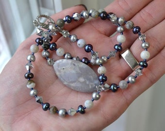 """Grey Necklace Ocean Jasper Necklace Pearl Necklace """"Clair de Lune Collection"""""""