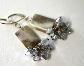 "Ocean Jasper Earrings Crystal Earrings ""Clair de Lune Collection"""