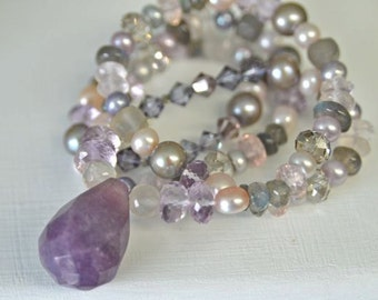 Purple Necklace Gemstone Necklace Purple Jade Moonstone Necklace Pink Amethyst Necklace