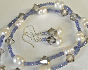 Iolite and Pearl Necklace Blue Necklace White Pearls Sterling Silver Earrings