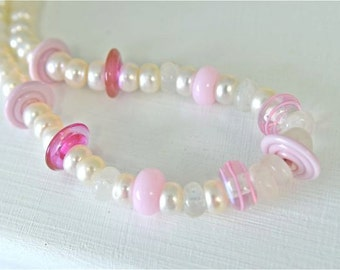 Moonstone Necklace White Pearls Pink Lampwork Beads Pink Earrings SET