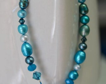 Turquoise Pearl and Crystal Bracelet . Winter Sun Collection from North Atlantic Art Studio in Maine