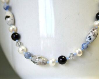 Onyx Necklace Jasper Necklace Aventurine Necklace Blue Black White Grey Gray