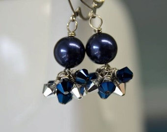 """Silver and Blue Crystal Earrings from North Atlantic Art Studio in Maine """"Moonlight"""""""