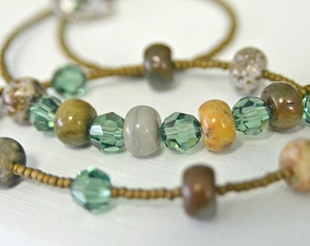 Ocean Jasper Necklace and Bracelet SET with Ernite Green Crystals and Antique Brown Glass Seed Beads Handmade in Maine
