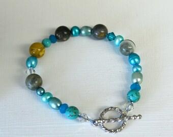 Turquoise Bracelet Jasper Bracelet Teal Aqua Pearl Bracelet Ready to Ship