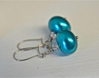 Turquoise Earrings Turquoise Pearl Earrings Bridesmaid Sets Teal Earrings Holiday Gift Sets